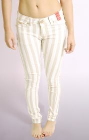 Beige and white striped skinny jeans